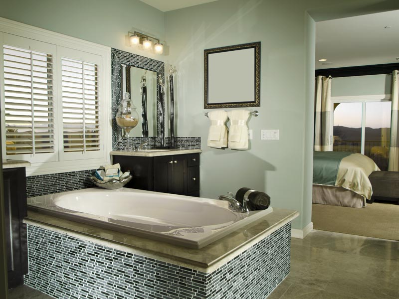 Perfect Exquisite Bathroom Features A Light Brown Washstand Accented With Satin Nickel Pulls And  Wonderfully Designed Black Bathroom Is Fitted With Marble Hex Floor Tiles Fixed Framing A White Half Moon Washstand Adorning Polished Nickel
